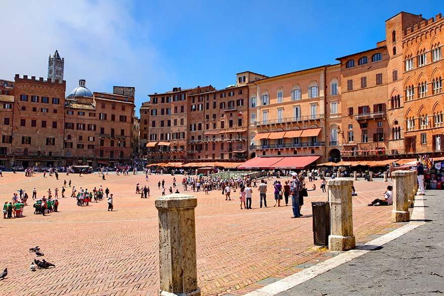 Il Campo town square in Siena - one of the nicest towns of Tuscany region in Italy