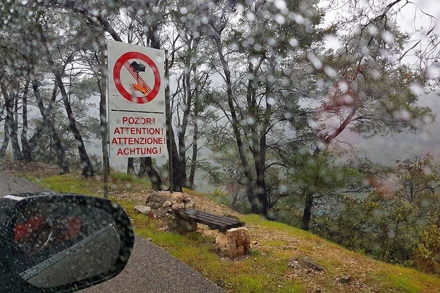 Rain storm on Mljet island in Croatia in April