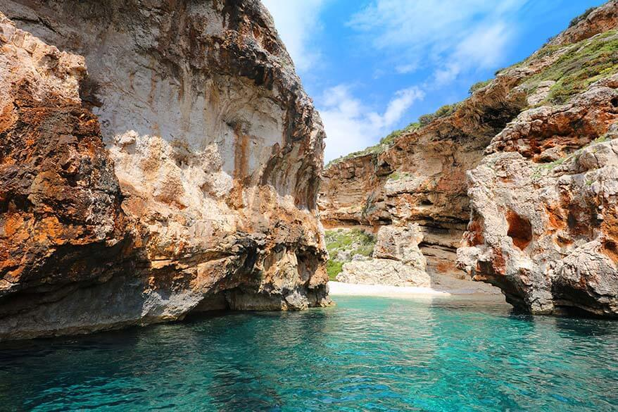 Stiniva Cove on Vis island is a popular stop of most Blue Cave tours from Split or Hvar