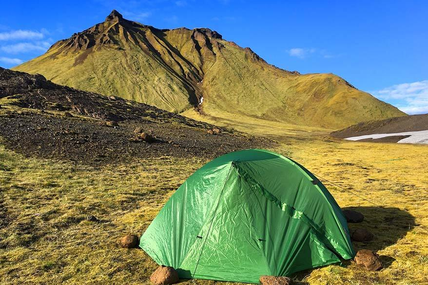Summer is the best time for camping in Iceland