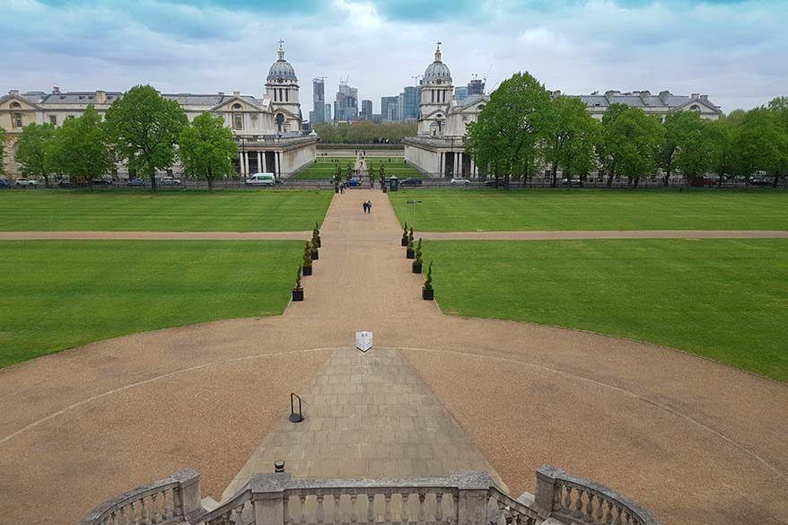 View over the Old Royal Naval College from the Queens House in Greenwich, London