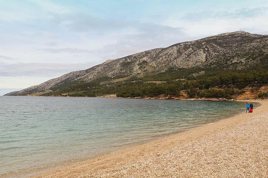 Zlatni Rat beach on Brac island was deserted in April