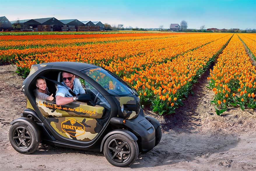 Electric car is a fun way to see Lisse tulip fields near Keukenhof on your own