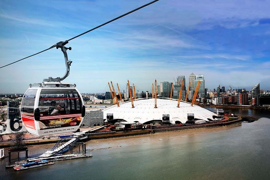 Emirates Air Line cable car in Greenwich London
