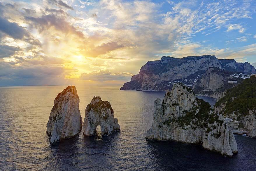 Faraglioni rocks in Capri Italy at sunset
