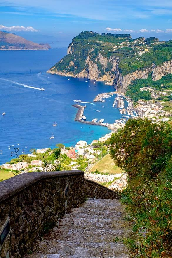 Phoenician Steps offer amazing views over Capri island in Italy