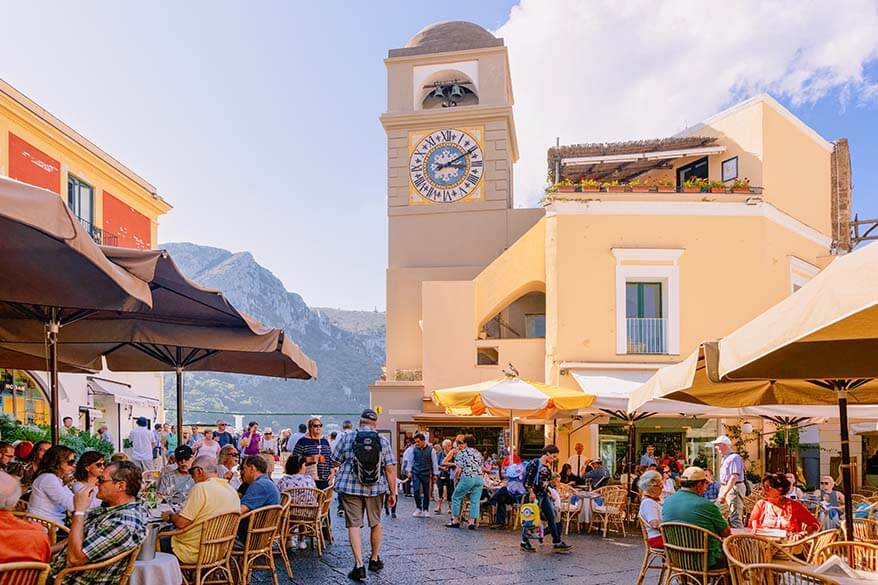 Piazza Umberto I is not to be missed in Capri Italy