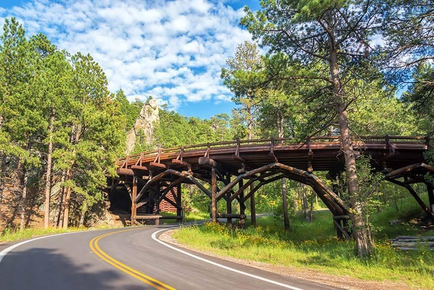 Pigtail Bridge on Iron Mountain Road in Custer State Park South Dakota