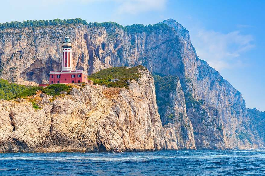 Punta Carena Lighthouse - one of the places to see in Capri Italy