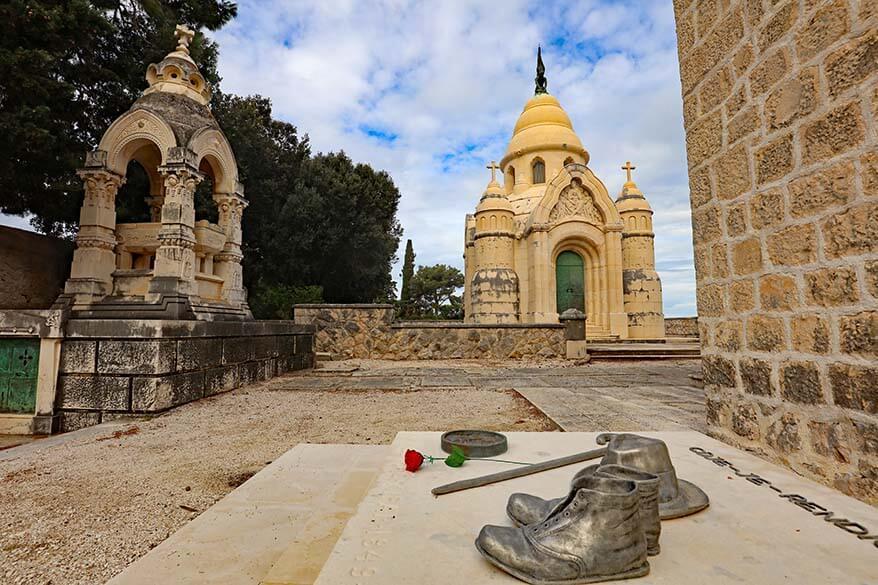 Supetar cemetery and mausoleum with a grave of Croatian sculptor Ivan Rendic - Brac island Croatia