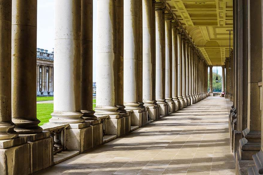 The Colonnade at the Old Royal Naval College in Greenwich