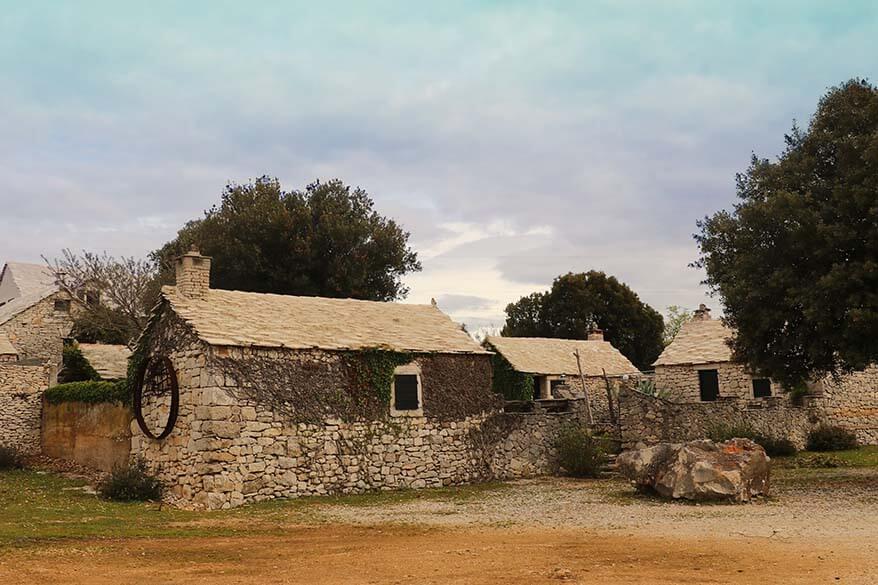 Traditional stone buildings on Brac island in Croatia