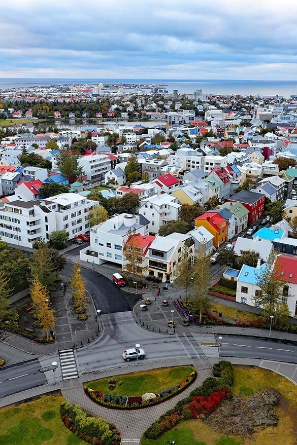 View from Hallgrimskirkja church in Reykjavik Iceland