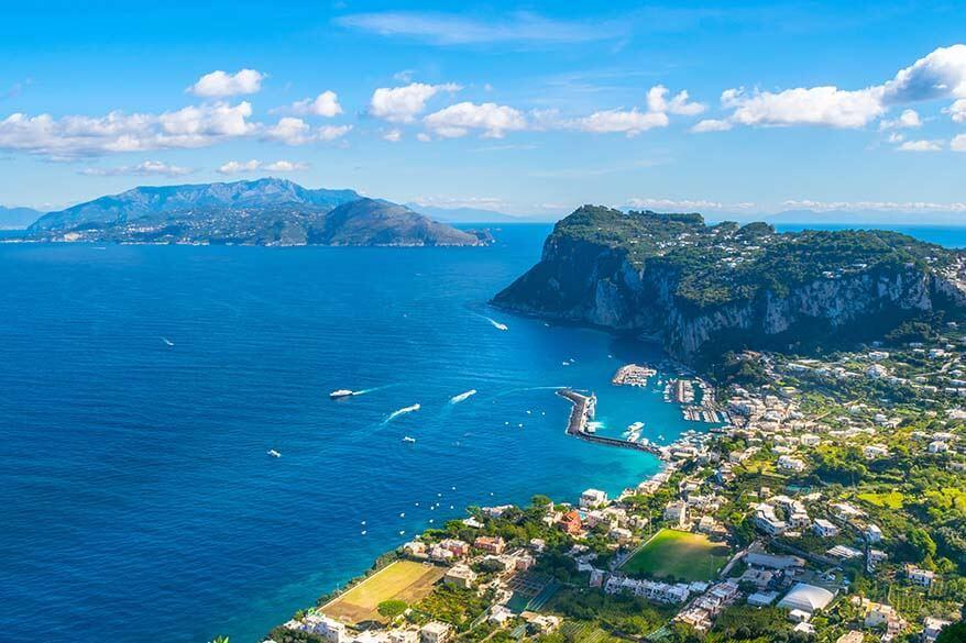 View of Capri island from Villa San Michele in Anacapri