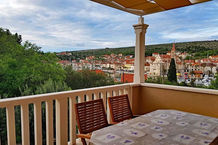 Where to stay in Brac - terrace with a view of Milna town