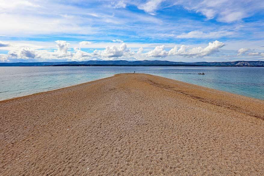 Zlatni Rat beach as seen from the beach itself - best beach on Brac island Croatia