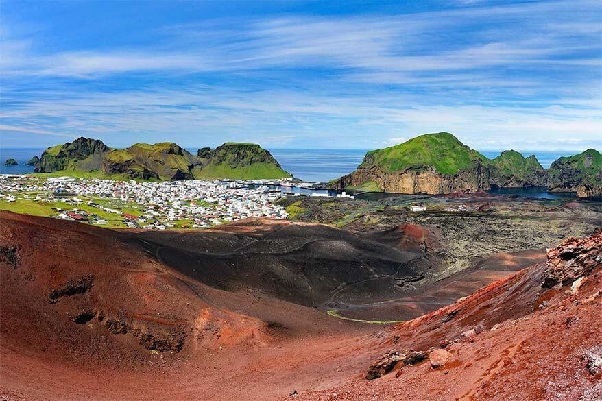 Heimaey Island as seen from Mount Eldfell volcano, Westman Islands in Iceland