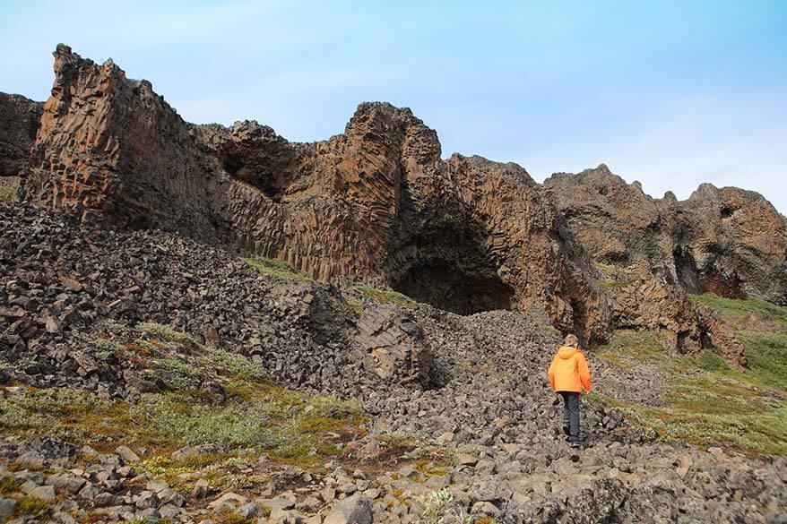 Basalt columns on Disko Island in Greenland