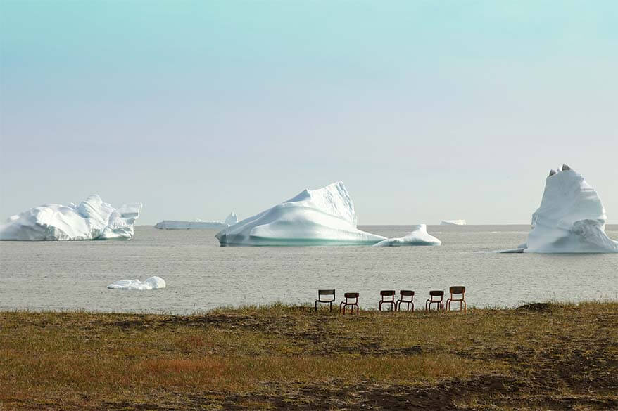 Chairs with a view over icebergs - Disko Island Greenland