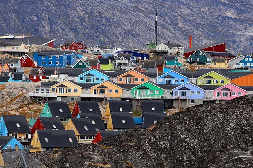 Colorful houses in Ilulissat Greenland