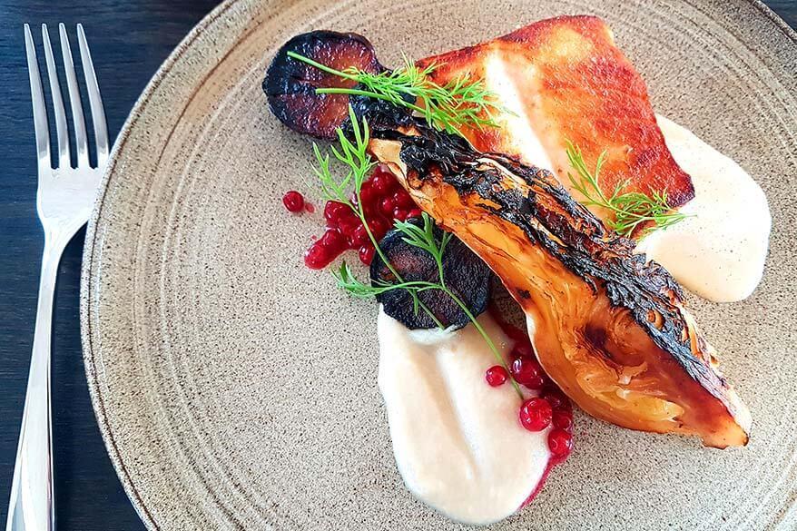 Delicious fish dish at Hotel Disko Island restaurant in Qeqertarsuaq in Greenland