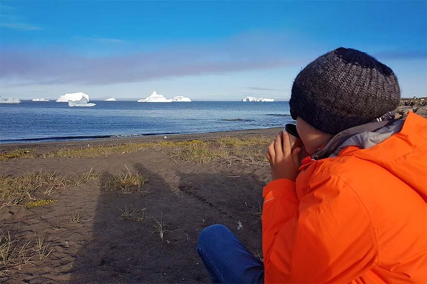 Greenland vacation - watching whales from the beach on Disko Island