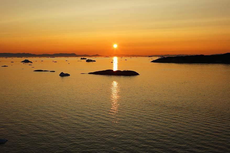 Midnight sun in Ilulissat in Western Greenland