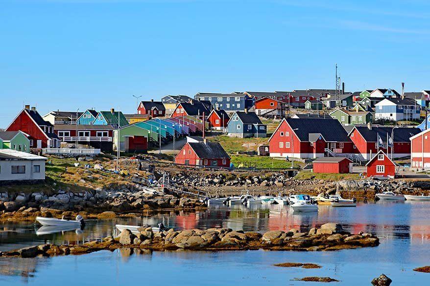 Qeqertarsuaq town on Disko Island in Greenland