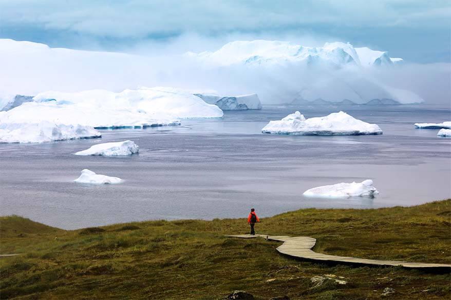 Sermermiut hiking trail at Ilulissat Icefjord in Greenland