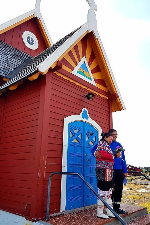 Traditional Greenland wedding in Qeqertarsuaq on Disko Island