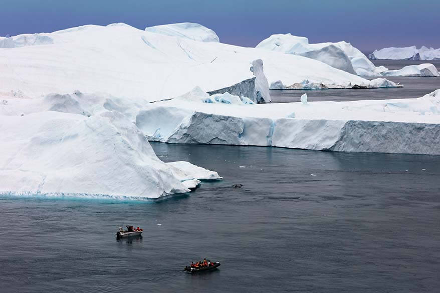 Whale watching boats on Ilulissat Icefjord