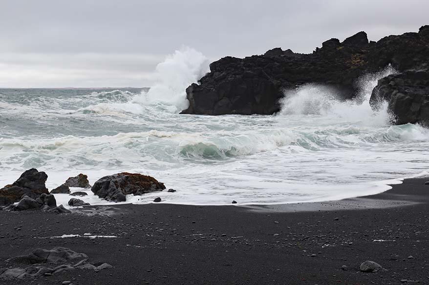 Big waves on a black sand beach at Selatangar on Reykjanes Peninsula in Iceland