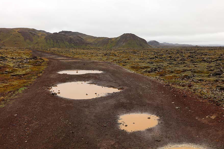 Bumpy 4WD track road to Selatangar on Reykjanes Peninsula in Iceland