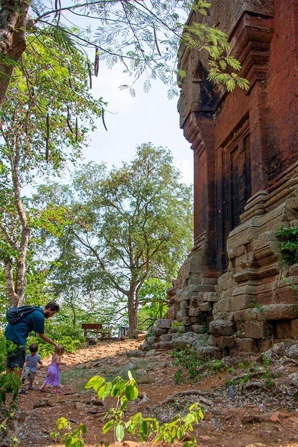 Kids exploring temple ruins in Cambodia