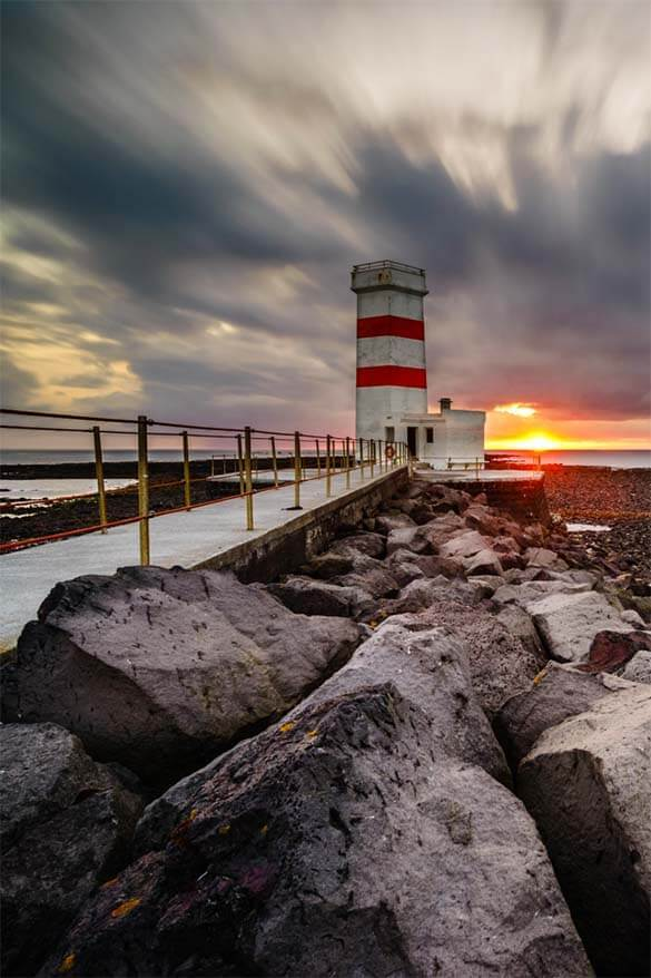 Gardur Old Lighthouse - one of the best places to see in Reykjanes Peninsula Iceland