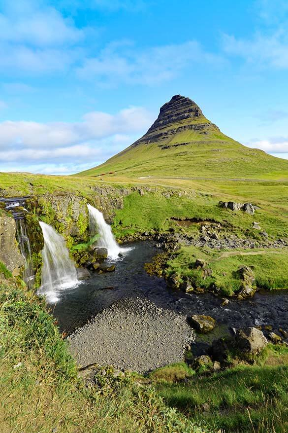 Kirkjufell Mountain and Kirkjufellsfoss - must see when visiting the Snaefellsnes Peninsula in Iceland