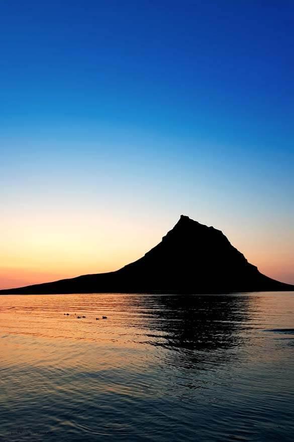 Kirkjufell mountain in Snaefellsnes Peninsula at sunset