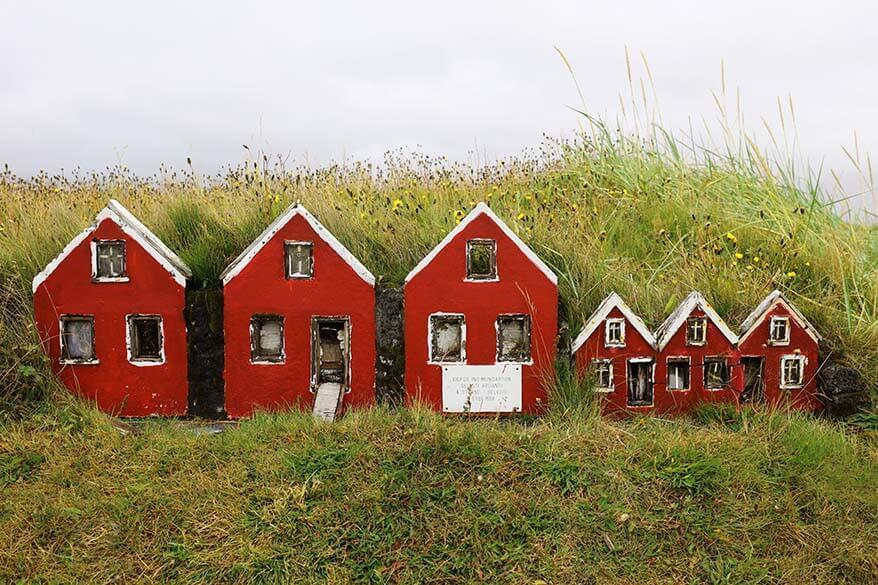 Little red elf houses on Reykjanes Peninsula in Iceland