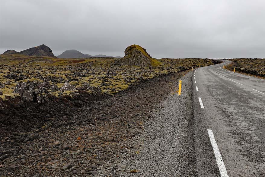 Road through lava fields on Reykjanes Peninsula in Iceland