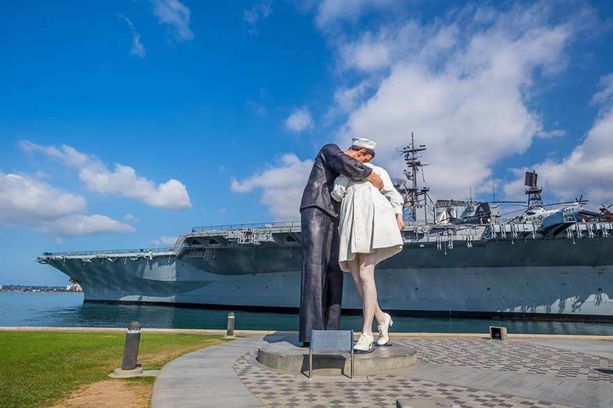 Unconditional Surrender sculpture, also known as the statue 'Embracing Peace' and USS Midway Museum in San Diego California