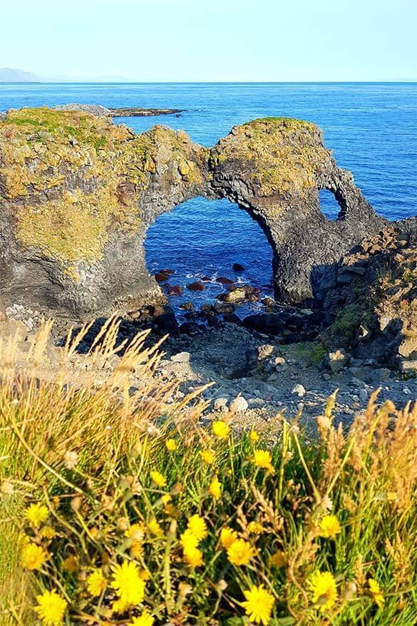 Gatklettur along Arnarstapi coast in Snaefellsnes Peninsula in Iceland