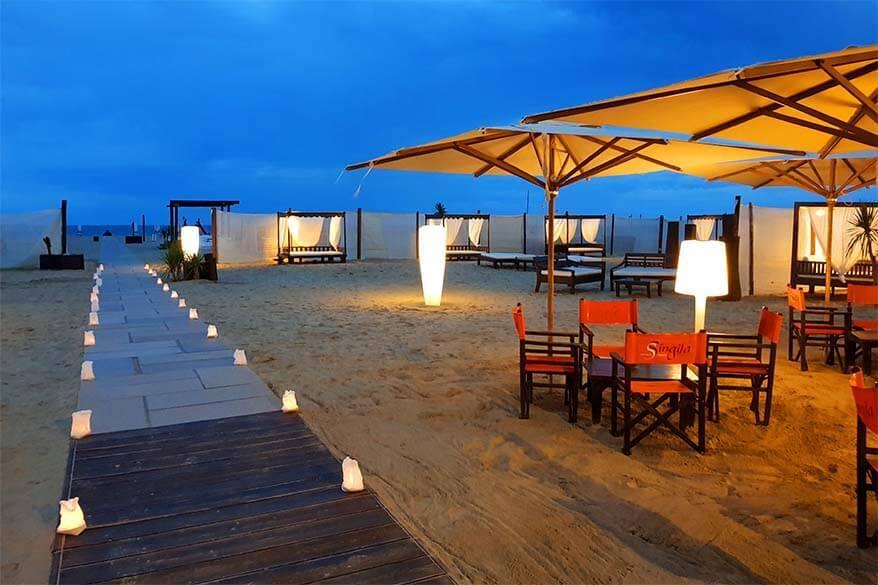 Beach bar at the beach near Ravenna in Italy