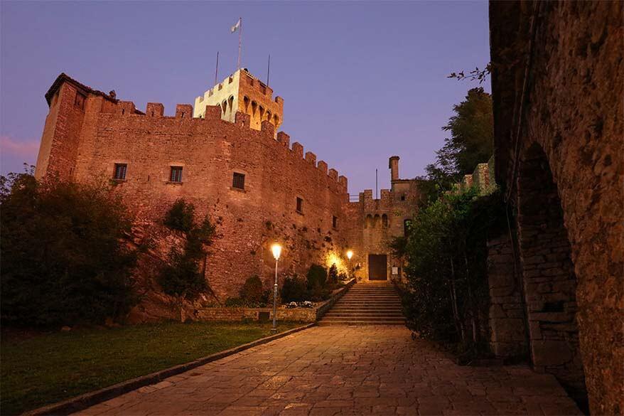 Cesta Tower in San Marino at night