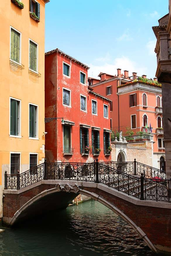 Colorful buildings and a bridge in Venice Italy