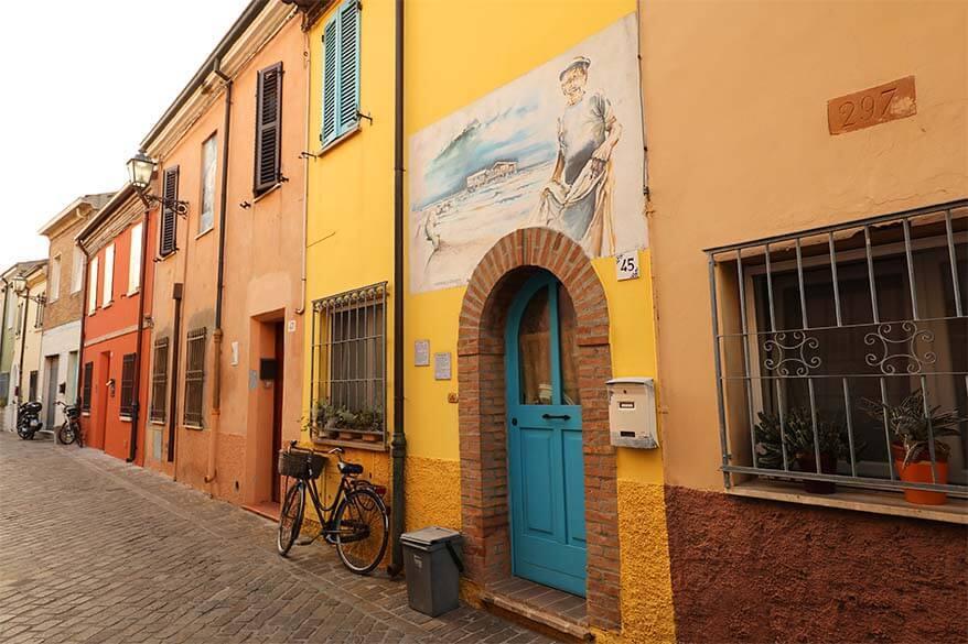 Colorful houses in Rimini in Emilia Romagna Italy