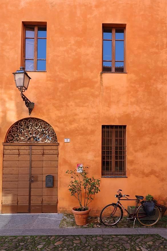 Colorful street in Emilia Romagna Region in Italy