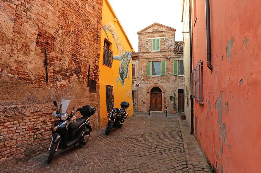 Colorful streets of Borgo San Giuliano area in Rimini Italy