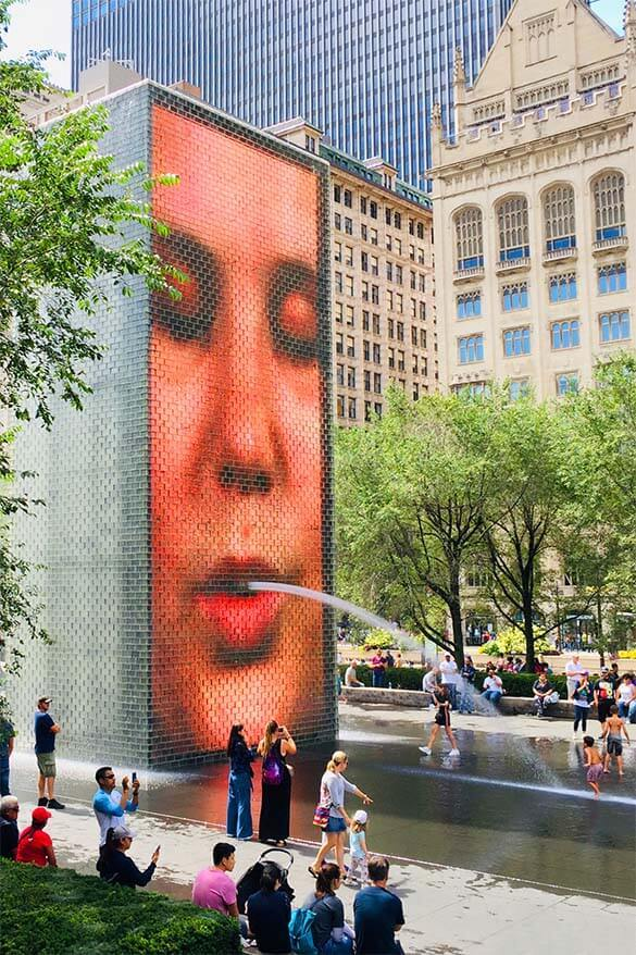 Crown Fountain is one of the main Chicago attractions