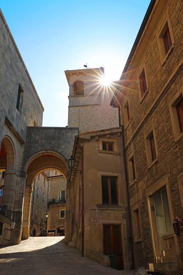 Exploring the medieval streets of the Old Town is one of the best things to do in San Marino