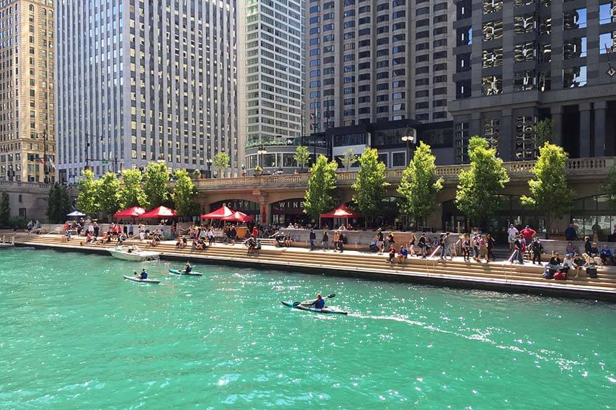 Kayaks on Chicago River and Chicago Riverwalk